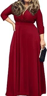 POSESHE Women's Solid V-Neck 3/4 Sleeve Plus Size Evening Party Maxi Dress