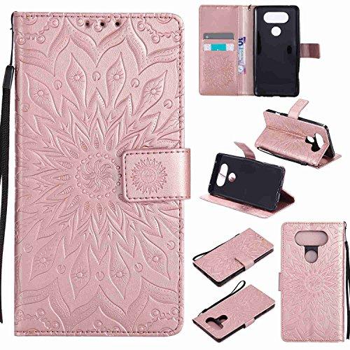 pinlu® PU Leder Tasche Etui Schutzhülle für LG V20 Lederhülle Schale Flip Cover Tasche mit Standfunktion Sonnenblume Muster Hülle (Roségold)