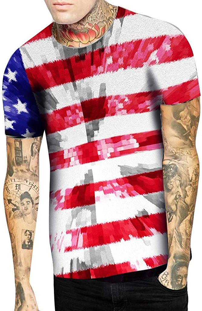 Independence Day Tees for Men,Hip-Hop Hipster American Flag Printed T-Shirts Casual Stylish Blouses Tops by Leegor
