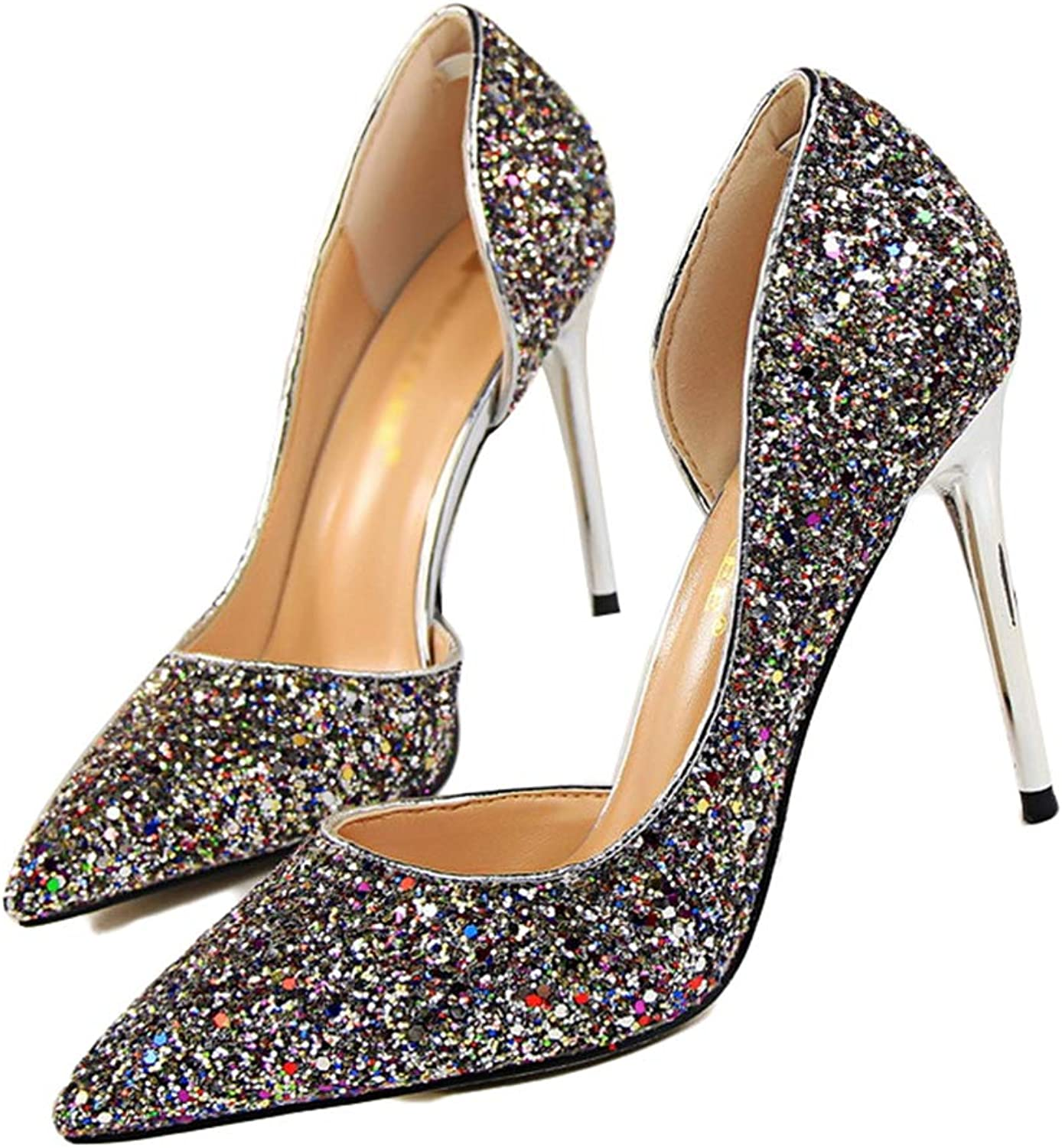 Drew Toby Women Pumps Sequin Shallow Side Cut-Outs Party Pointed Toe OL Office High Heels