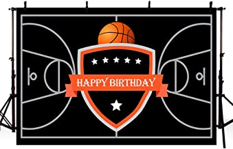 MEHOFOTO Basketball Theme Happy Birthday Photography Backdrop Party Decoration Black Basketball Court Stars Banner Photo Studio Background 7x5ft