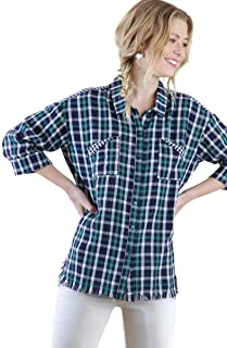 Umgee Women's Plaid & Gingham Light Weight Cotton Button Up Tunic Top