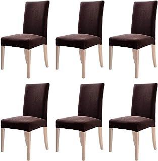 YISUN 4er/6er Set Stretch Kurze Esszimmer Stuhlhussen, Abnehmbare Waschbar Stuhlbezug Stuhl Schutzhülle für Wohnkultur Party Hotel Hochzeitszeremonie (6-Stück, RotBraun)