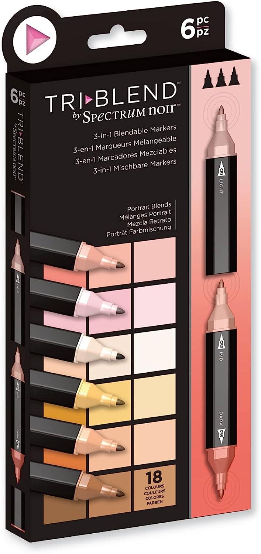 Crafter's Companion Spectrum Noir Triblend Alcohol 3 Marker Pens-Portrait Blends-Pack of 6