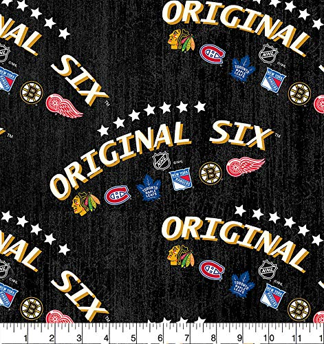 NHL Original SIX Cotton Fabric-Choose from 3 Patterns-SYKEL NHL Cotton Fabric (1220ORG6)
