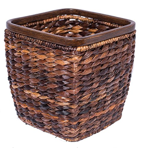 BIRDROCK HOME Seagrass Woven Wastebasket - Espresso - Office Waste Bin - Decorative - Wooden Base - Recycle Trash Can