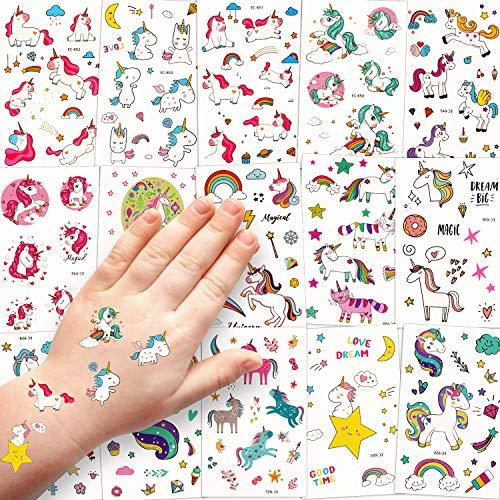 Sinwind Tattoo Kinder, 15 Blätter wasserdichte Kinder Tattoo Set, Temporäre Tattoos Aufkleber für Junge Mädchen Kinder Spielen Mitgebsel Kindergeburtstag Party (Einhorn)