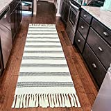 Boho Kitchen Runner Rug, 2'x4' Black/White Striped Cotton Woven Bedside Throw Area Rug with Tassel Sink Farmhouse Machine Washable Hallways Carpet for Laundry Room Bedroom Bathroom