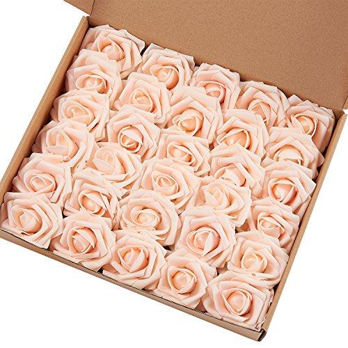 Flores artificiales Marry Acting (para regalo, rosa, 30 unidades, para ramo de novia, tacto real, para decoración)