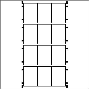 Espositore contenitore da parete a 3 tasche verticali