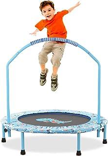 LBLA ø 38 tums studsmatta för barn, justerbar räcke och säkerhet vadderat skydd mini hopfällbar bungee studsmatta inomhus/...