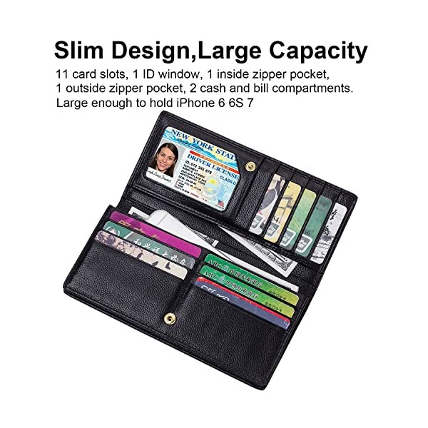 Lavemi RFID Blocking Ultra Slim Real Leather Credit Card Holder Clutch Wallets for Women 4