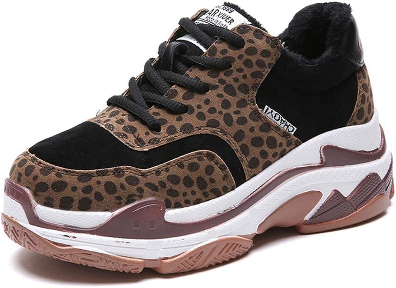 NOMIMAS Sneakers Women Wedges Leopard Lace-Up Mid Heels Platform Non-Slip Short Plush Cow Faux Suede Winter shoes