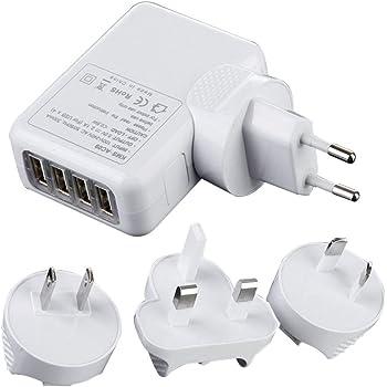 Techrace Chargeur USB Secteur 4 Ports USB Universel Secteur Adaptateur Mural avec EU UK AC Plugs De Voyage pour iPhone, iPad, Smartphones Android, Tablettes Etc, Blanc