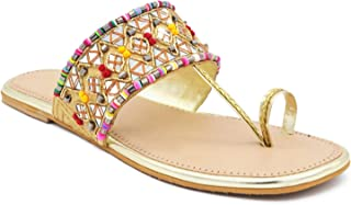 Latest Collection Girl's & Women's Slip on Embroidered Ethnic Flat Sandals (Golden, numeric_5) UK Size 5