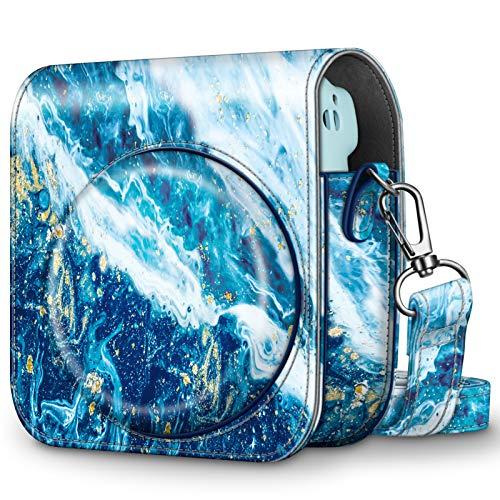 Fintie Tasche für Fujifilm Instax Mini 11 Sofortbildkamera - Premium Kunstleder Schutzhülle Reise Kameratasche Hülle Abdeckung mit abnehmbaren Riemen, Meeresblau