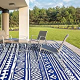 Reversible Mats, Plastic Straw Rug, Modern Area Rug, Large Floor Mat and Rug for Outdoors, RV, Patio, Backyard, Deck, Picnic, Beach, Trailer, Camping Sold by Jaynets (Blue, 69)