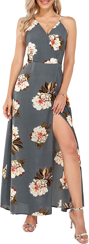 KILIG Women Casual Summer Dresses V Neck Wrap Maxi Floral Print Split Party Dress