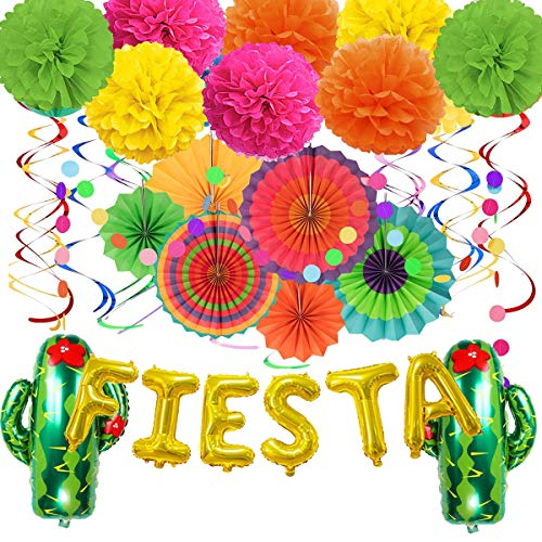 LANWANGJI Colorful Cinco De Mayo Decorations Foil Fiesta Cactus Balloon Hanging Paper Fans,Hanging Swirls,Polka Dot String,Tissure Pompoms for Birthday Fiesta or Mexican Party