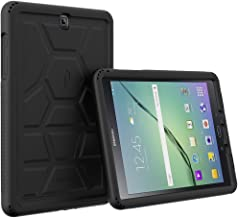 Poetic Galaxy Tab A 9.7 Case Turtle Skin Series Corner/Bumper Protection Tactile Side Grip Sound-Amplification Bottom Air Vents Protective Silicone Case, Black
