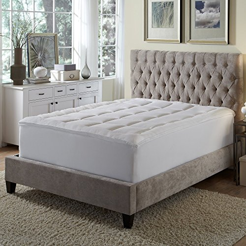Rio Home Fashions Microfiber Baffled Box King Fiberbed with Bed Skirt, White