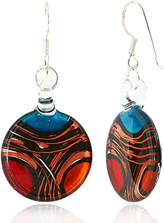 925 Sterling Silver Hand Blown Venetian Murano Glass Red Blue Yellow Gold Curve Dangle Earrings