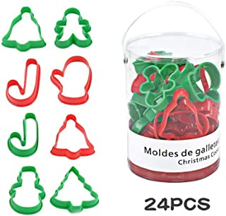 24 Pieces Plastic Christmas Cookie Cutters for Large Holiday Cookies, Snowflake Cookies, Gingerbread Man Cookies, Christmas Party and Baking Gift