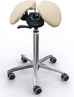 SALLI Outlet SwingFit - Silla ergonómica con ruedas, taburete giratorio, altura regulable, piel beige - gris perla M