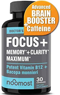 Brain Focus Booster, Memory & Clarity Booster, Nootropic Energy Pills & Brain Supplement Boost for Mental Concentration, Neuro Peak & IQ Focus Factor, Rhodiola Rosea Bacopa Monnieri Ginkgo Biloba DMAE