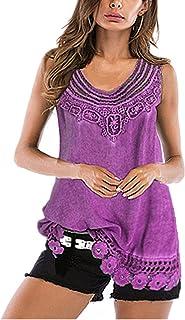 XWLY Women Tank Top Summer Comfortable Round Neck Sleeveless Long Tops Women Lace Hollow Out Hem Women Blouse Fashion Casu...