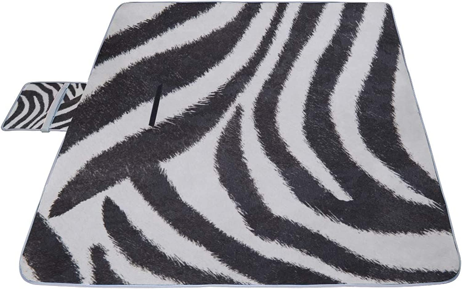 Zebra Black and White Stripes Picnic Mat 57''(144cm)x79''(200cm)Picnic Blanket Beach Mat with Waterproof for Kids Picnic Beaches and Outdoor Folded Bag