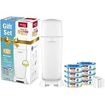 Playtex Diaper Genie Baby Registry Set, Includes 1 Diaper Genie Complete Diaper Pail, 8 Diaper Genie Refills and 8 Diaper Genie Carbon Filters for Odor Control