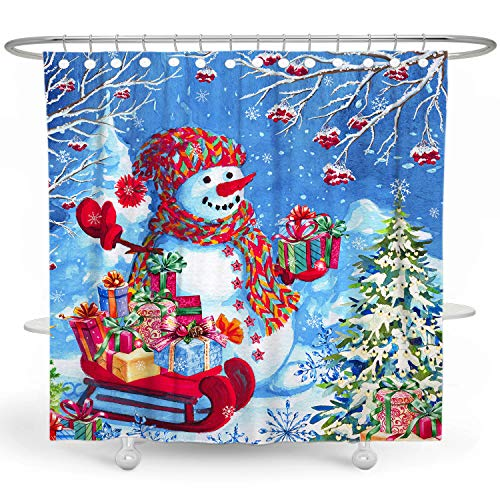 DESIHOM Christmas Shower Curtain Snowman Shower Curtain Snowflake Holiday Shower Curtains for Bathroom Winter Shower Curtain Christmas Tree Xmas Polyester Waterproof Shower Curtain 72x72 Inch