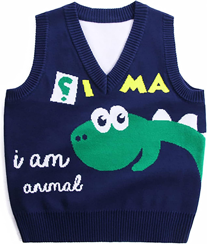 Freebily Kids Boys Cute Cartoon Dinosaur Print Knitted V Neck Sweater Vest Pullover Casual Warm Sleeveless Vest Top