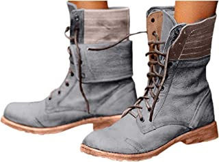 BIKETAFUWY Snow Boots for Women Ankle Booties Retro Rome Fur Lined Suede Lace Up High Heel Round Toe Waterproof Shoe