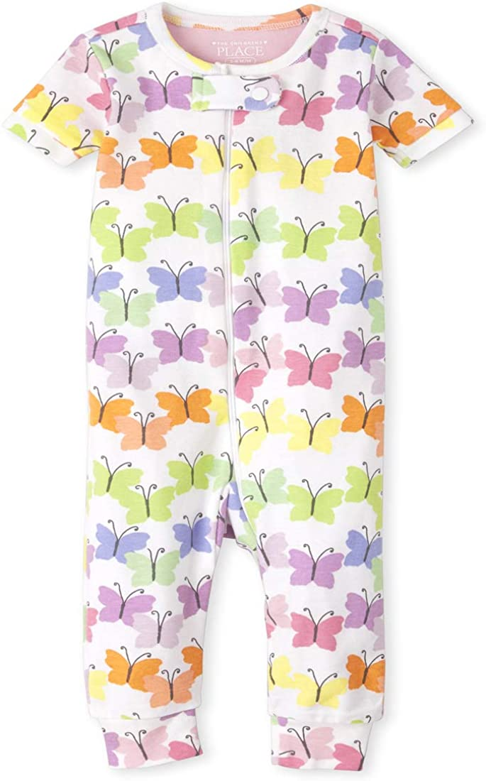 The Children's Place Baby And Toddler Girls Rainbow Butterfly Snug Fit Cotton One Piece Pajamas