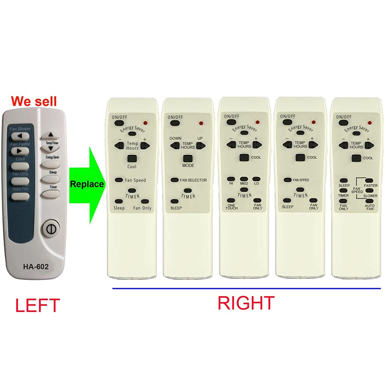 HA-602 Replacement for kenmore Air Conditioner Remote Control 309342608 works for 253.73055300 253.73055301 253.73125301 253.73156301 253.73185300 253.73229 253.73229300 253.73229301 253.73259
