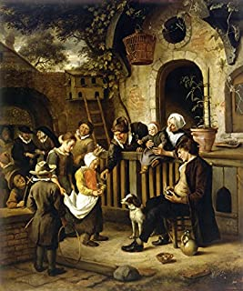 LITTLE ALMS COLLECTOR PENTECOSTAL PROCESSION RELIGION 1663 PAINTING BY JAN STEEN LARGE CANVAS REPRO