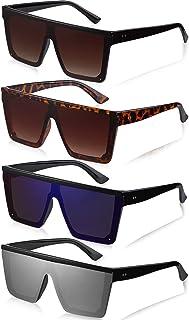 Frienda - 4 Pares Gafas de Sol Planas de Gran Tamaño Gafas de Sol Cuadradas Vintage