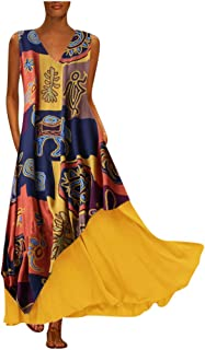 Women Vintage Patchwork Long Dress, Ladies V-Neck Sleeveless Cotton Maxi Dresses Party Dress