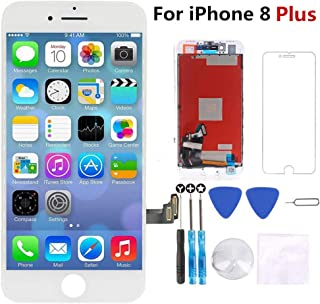 for iPhone 8 Plus Screen Replacement White 5.5 inch - 3D Touch LCD Display & Touch Screen Digitizer Frame Assembly Set with Repair Tool Kit + Free Screen Protector