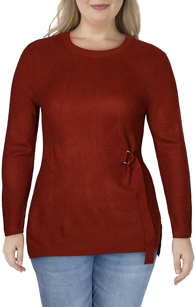 DKNY Womens Ribbed Side Tie Crewneck Sweater
