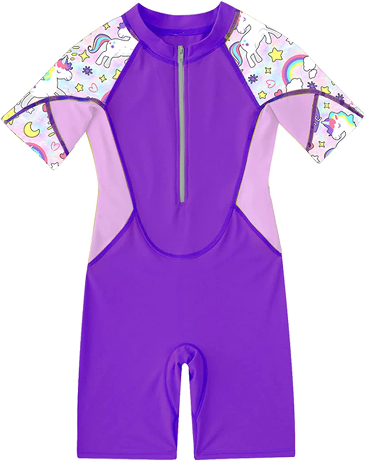 Haitryli Kids Girls Short Sleeves Zippered Shor Guard Shirt Rash Inventory cleanup selling sale Max 55% OFF