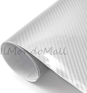 IlMondoMall 4D カーボンシート ハイグロス カーボン調 カーボンステッカー 艶有り シルバー (シルバー, 152×035cm)