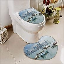 iPrint 2 pcs Toilet Cover Set Non-Slip mat Bathroom Non-Slip mat,Skyscrapers Panama Cityscape Pacific Coast Central,3D Print Heart Shape Toilet seat Cushion Customized Fashion