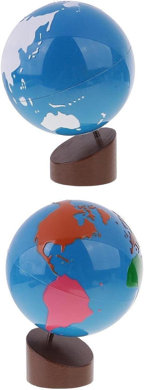D DOLITY Set DI 2 Gioco Educativo Bambino Montessori Globo modellolo Di Apprendimento Di Geografia