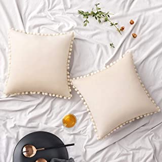 Woaboy Pack of 2 Velvet Throw Pillow Covers Pompom Decorative Pillowcases Solid Soft Cushion Covers with Poms Square Cojines for Couch Living Room Sofa Bedroom Car 18x18inch 45x45cm Cream White