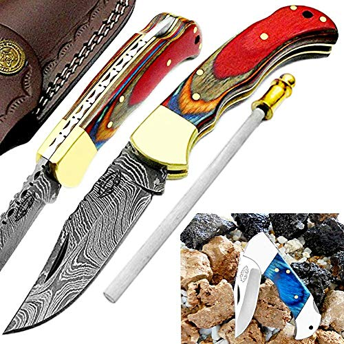 Pocket Knife Multi Wood 6.5'' Beautiful Damascus Steel Knife Brass Bolster Hunting Folding Knife Back Lock Prime Quality Pocket Knives+ Sharpening Rod Blue Wood Stainless Steel Small folding Pocket Knife set