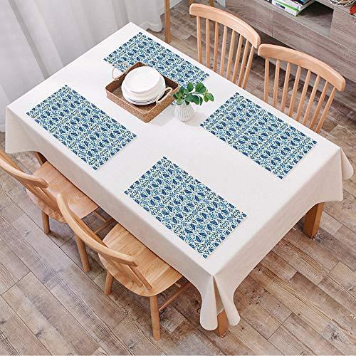 Salvamanteles Individuales Juego de 4,Amarillo y azul, azulejos tradicionales portugues,Lavables Manteles Individuales de Vinil de Esteras, Resistentes al Calor Antideslizante Fácil de Limpiar 30x45cm