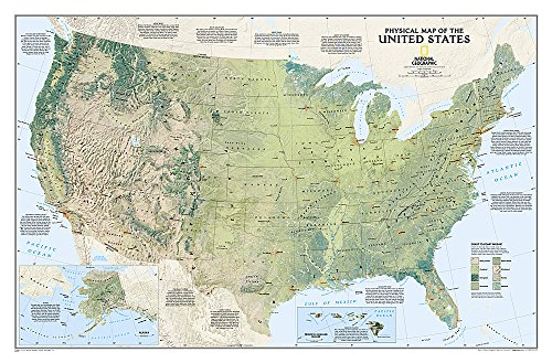 National Geographic: United States Physical Wall Map (38.25 x 25.25 inches) (National Geographic Reference Map)